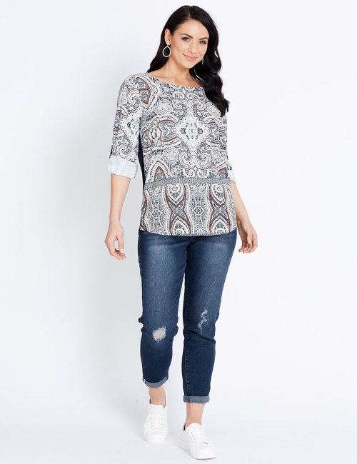 cf4f7d1729d Katies Rolled Sleeve Mix Media Top