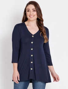 Katies 3/4 Sleeve Button Cover Up