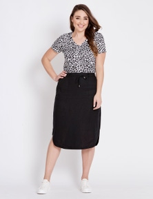 Katies Curved Hem Linen Blend Midi Skirt