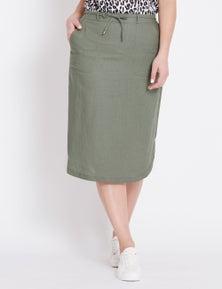 Katies Curved Hem Linen Blend Midi Skirt