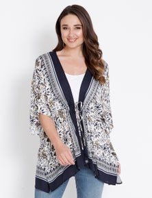 Katies Elbow Sleeve Tie Waist Kimono