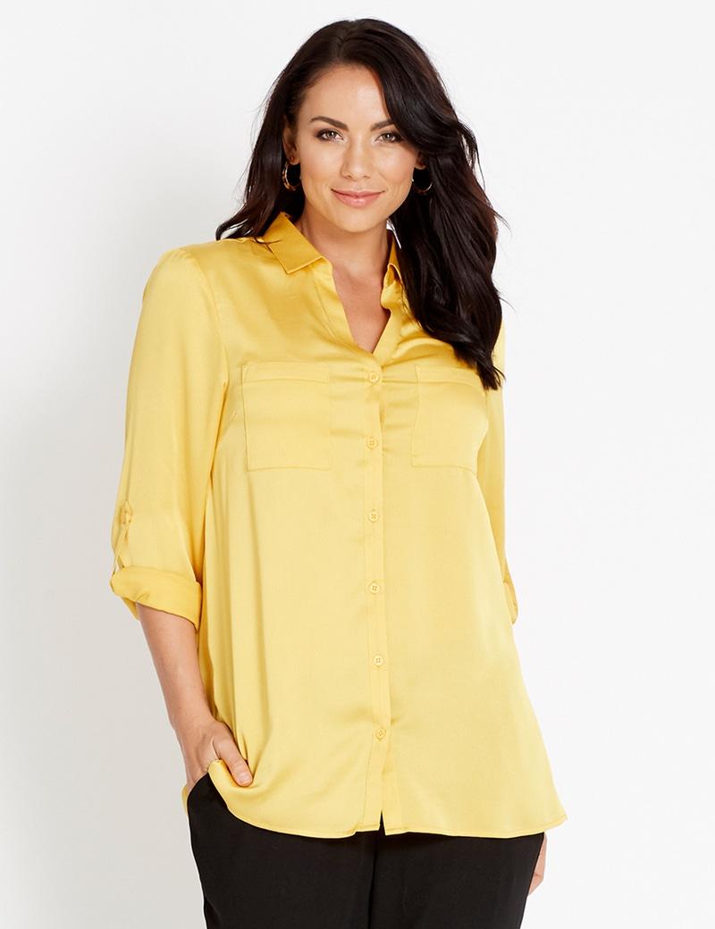 7f979a10 Katies Long Sleeve Hammered Satin Shirt