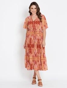 Katies Long Sleeve Button Pleat Maxi Dress