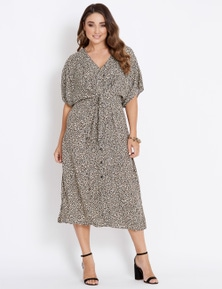 Katies Extended Sleeve Knot Front Dress