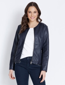 ROUND NECK PU JACKET