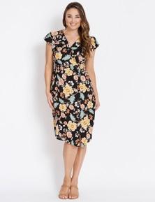 Katies 3/4 Floral Button Dress