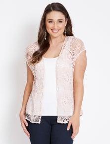 Katies Short Sleeve Crochet Cover-Up
