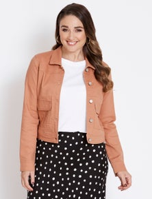 Katies Long Sleeve Colour Denim Jacket