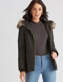 Katies Fur Trim Puffer Jacket
