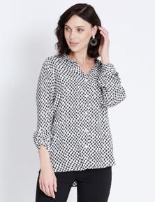 Katies Houndstooth Button Through Shirt