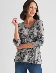Katies 3/4 Sleeve Print Knit Top