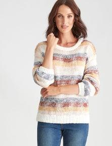 Katies Colour Block Stripe Jumper
