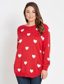 Katies Long Sleeve Jacquard Novelty Sweater