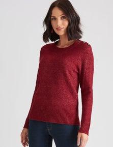 Katies Button Textured Knit Jumper
