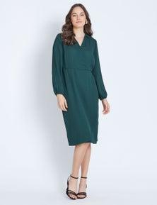 3/4 SLV WRAP DRESS