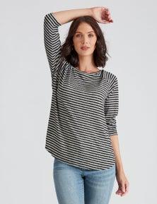 Katies 3/4 Sleeve Stripe Raglan Top