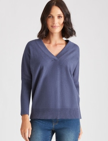 Katies 3/4 Drop Shoulder V Knit