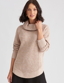 Katies Cotton Roll Neck Knit Jumper