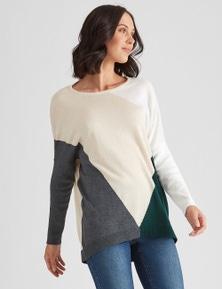 Katies Long Sleeve Colourblock Knit