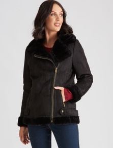 Katies Belt Detail Sherpa Jacket