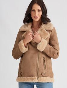 Katies Belt Detail Sherpa Jacket