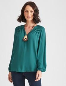 Katies Long Sleeve Textured Mandarin Top