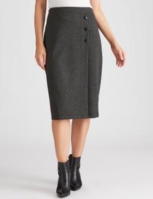 Katies Mock Wrap Midi Skirt
