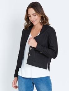 Katies Horn Button Linen Jacket