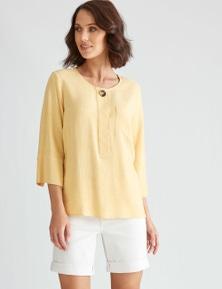 Katies 3/4 Sleeve Linen Blend Button Top