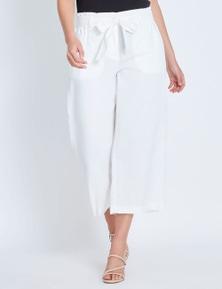 Katies Wide Leg Linen Crop Pant