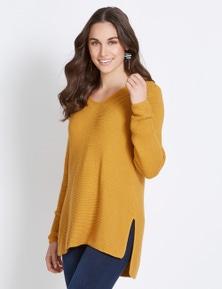 Katies Long Sleeve V Neck Textured Knit Jumper
