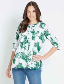 Katies Pintuck Cotton Print Shirt