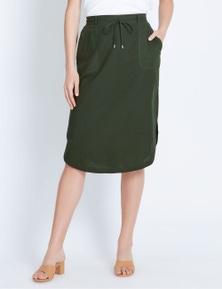 Katies Curved Hem Linen Skirt