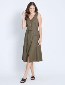 Katies Linen Tie Waist Dress