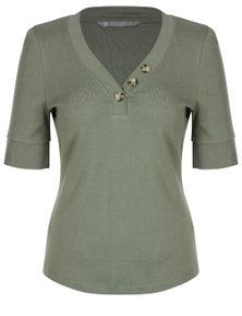 Katies Short Sleeve Rib Button Top
