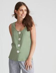 Katies Linen Button Front Top