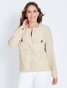 Katies Linen Bomber Jacket