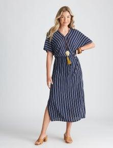 Katies Woven Faux Wrap Dress