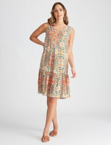 Katies Woven Pintuck Shift Dress