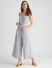 Katies Linen 7/8 Button Front Jumpsuit