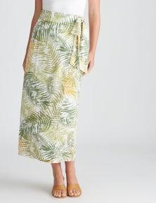 Katies Woven Maxi Faux Wrap Skirt