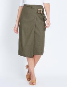 Katies Linen Faux Wrap Skirt