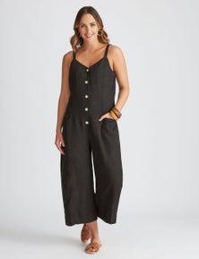 Katies Linen Crop Button Front Jumpsuit