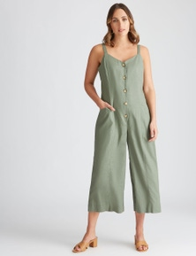 Katies Linen Crop Button Front Jumpsuit