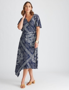 Katies Woven Asymetric Faux Wrap Dress