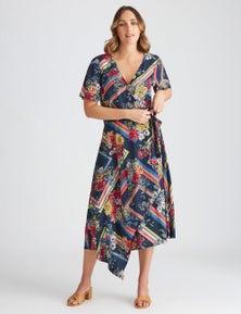 Katies Woven Asymetric Faux Wrap Dress
