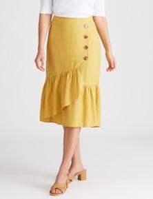 Katies Linen Midi Button Front Skirt
