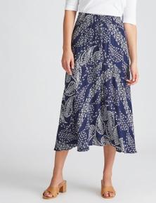 Katies Woven Midi Hanky Hem Skirt