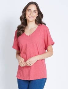 Katies Short Sleeve Cotton Slub V-Neck Tee