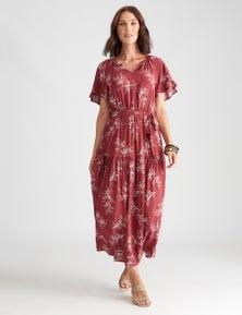 Katies Woven Flutter Sleeve Dress